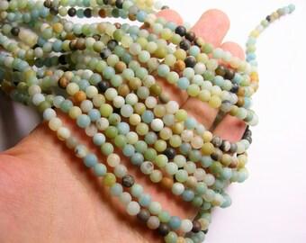 Amazonite 6mm round beads 1 full strand - matte - 68 beads - RFG209