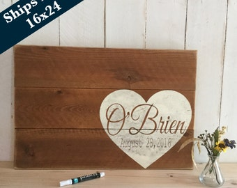 Stained Wedding Guest Book Alternative - Rustic Wedding  Sign - Wedding Signage - Personalized Wedding Sign - Pallet Sign - Guestbook 16x24