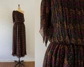 1970s Broken Dreams boho silk floral dress / 70s Treacy Lowe