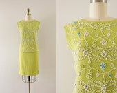 1960s Field Of Greens beaded chartreuse dress set / 60s blouse & skirt