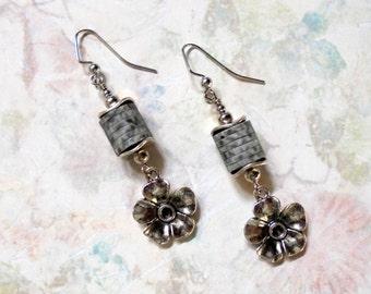 Dark Gray and Silver Flower Earrings (2655)