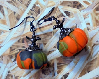 Orange, Black and Olive Green Pumpkin Earrings (2321)