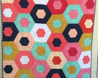 Sweet Hexi Gems, Baby Quilt, Baby Girl Crib Quilt