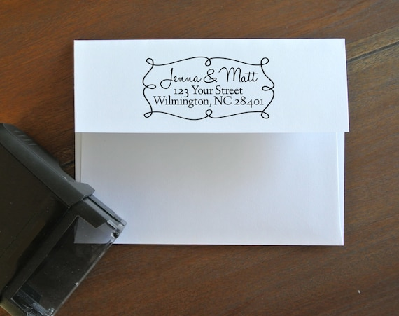 Custom Return Address Stamp - for save the dates, invitations, thank you cards, and holiday cards