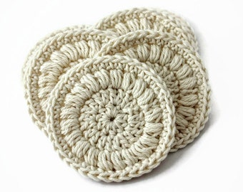 Cotton Face Rounds Set of Six in a Cream Color - Crochet Coaster Rounds - Handmade Crochet Face Scrubbies - 100% Cotton Yarn