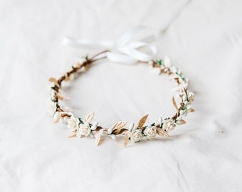 ivory cream gold rose, leaf & berry flower crown // bridal wedding flower crown headband rustic forest garden spring woodland headpiece