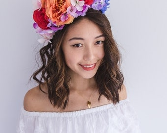 summer vibrant colourful festival flower crown fascinator // statement floral headpiece headband, spring races racing carnival, wedding
