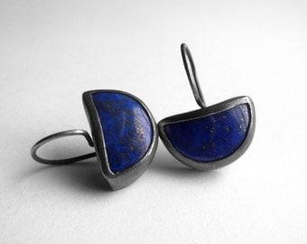 Blue Moon Earrings - Half Moon Earrings - Lapis Lazuli & Silver - Ready To Ship