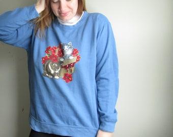 Vintage Kitten Flower Basket 90s Sweater
