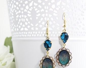 Blue Artisan Art Deco Earrings – Painted Brass Earrings - Crystal Drop Dangle Earrings - Everyday Handmade Glass Bead Fashion Earrings - E32