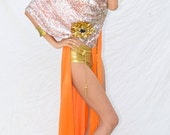 Silver Sequin Disco Party Scarf, Sequin Shawl Hood with Orange Lining, One Of A Kind, Up Cycled Fashion Accessory