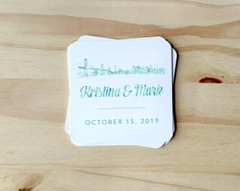 Watercolor Paper Coasters with San Francisco Skyline for wedding reception, CUSTOMIZABLE for Rehearsal Dinners, Events, Housewarming Gift