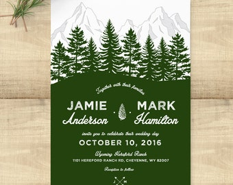 Forest Rustic wedding invitation suite, custom monogram, pine trees; SAMPLE ONLY