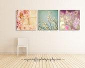 nature photography, garden art, flower prints, butterfly photo, baby girl wall art, girls room decor, pink, mint blue, purple, magnolia