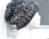 Knitted Slouch Hat - Black and Grey