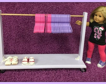 """LARGE Sized LAVENDER 24"""" Wide Clothes Rack Wardrobe for American Girl, 18"""" Inch Doll Clothing"""