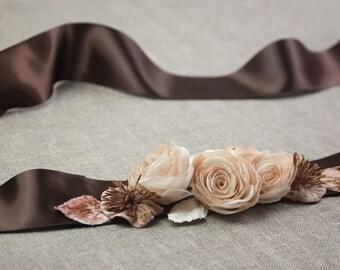 Bridal floral sash, Wedding floral sash, Wedding dress sash, Brown sash