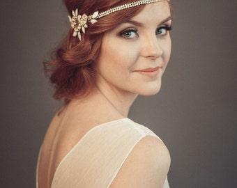 1920s wedding headpiece - Bridal hairpiece - Gatsby headpiece - Bohemian headpiece - Gold headpiece