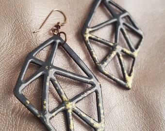 Hand-Pierced Enameled Geo Earrings in Steel Gray + Gold