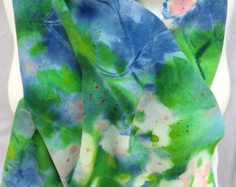 silk scarf hand painted Hydrangea Pink lime navy blue crepe large long unique luxury wearable art morgansilk scarves