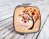 Bridesmaids Gift - Compact Mirror - Bright Autumn Tree