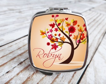 Bridesmaids Gift - Compact Mirror - Bright Autumn Tree