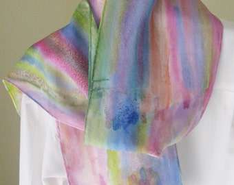Handpainted silk scarf pink purple blue green shades 8x54 Canadian design
