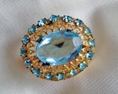 Vintage CZECH Gold and Blue Topaz Brooch - Ornate Layered Design - SIGNED - 1940 - Petite - Breathtaking