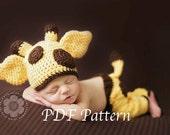 CROCHET PATTERN- Newborn Baby Giraffe Hat and Pants - crochet pattern 0 TO 12 Months