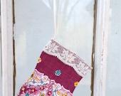 Vintage Hanky Stocking Hankie Christmas Stocking Lace Trim Burgundy