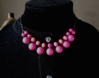 Hematite - Neon Moon glowing silicone hot pink glass beads Necklace & Earring Set - Mid Century  Modern - Vintage Inspired