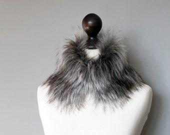 Faux fur collar in grey. Faux fur wrap. Fur neck warmer. Womens fur collar. Fur scarf. Christmas gift under 30