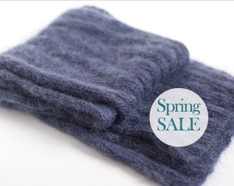 SALE 20% OFF Soft warm knit wool scarf in smoky navy blue. Long knit scarf.