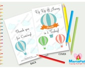 6 Hot Balloon Coloring Books, Personalized Coloring Books, Birthday Party Favors, Vintage Hot Air Balloon Up and Away Party  A1247