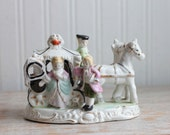 Ceramic Victorian Stagecoach Figurine, Horse and Carriage with Victorian Man and Woman, Made in Japan, Downton Abbey Style Gift, Anniversry