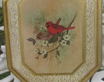 REDUCED Vtg Mid Century Florentine Framed Birds White Flowers Branch Print Ornate Octagonal Shabby Gold Picture Frame, Made Italy