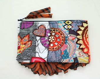 Flamboyant clutch Collage Purse Fabric Art Bag Handmade Evening Bohemian Eco Friendly Beaded Upcycle Recycle Patchwork pouch SaidoniaEco