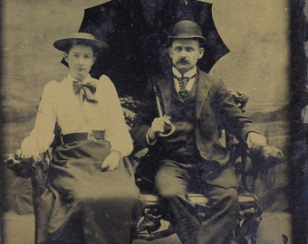 Handsome VICTORIAN COUPLE With PARASOL Tintype Photo Circa 1880s