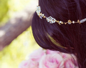 Hair vine, bridal hair jewelry, Delicate due drops hair adornment, Eirin, bridal tiara