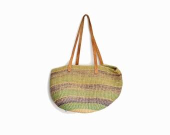 Vintage Jute Market Tote Bag / Leather Strap Straw Bag / Boho Jute Purse