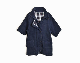 Vintage Oversized Corduroy Coat in Navy Blue
