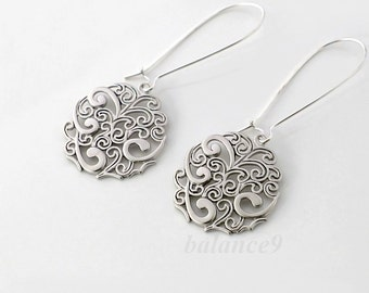 Silver earrings, filigree disc earrings gift for her, spray long dangle earrings, bridesmaid gift, wedding jewelry, by balance9