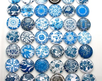 Blue glass cabochons - set of 10 blue and white round cabochons - 25mm flat back cabochons - 1 inch round cabochons