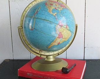 "1950s Cram's 12"" Globe - World Globe ""Wonderful Aged Patina"""