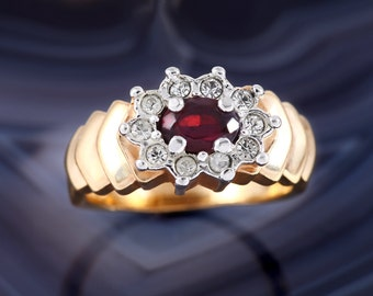 Size 8 Cocktail Ring, Vintage, 18K HGE, Garnet, Red, Rhinestone, Gold Tone, Costume Jewelry, Aurora Jewelry Co.
