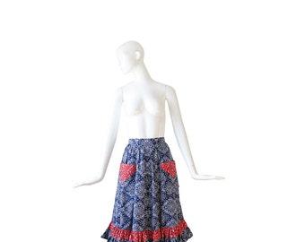 1960s Skirt • 60s Boho Hippie Skirt • Bandana • Full • Small • S