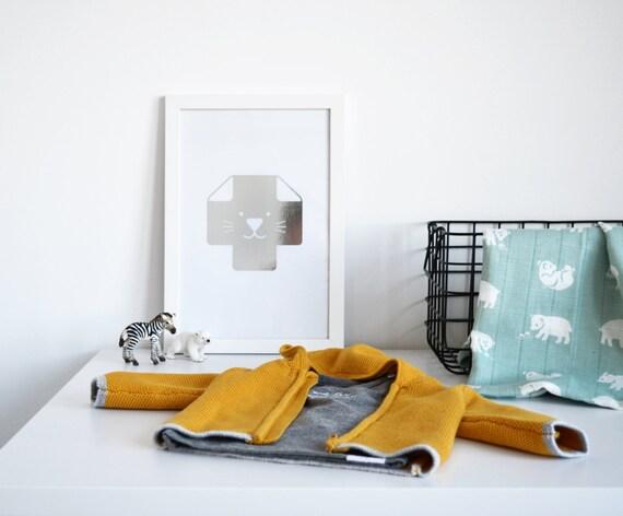 SALE: Silver Foil Kids Poster / Minimalist Nursery Poster / Cat Wall Art / Swiss Cross Poster / Nordic Print / Scandinavian Print