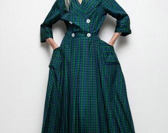 SALE vintage 1940s coat dress plaid blue green midi double breasted M L medium large