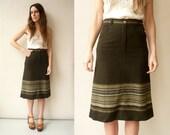 1970's Vintage A-Line Wool Mix Midi Skirt Size XS