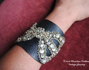 Bow And Bovine Cuff--Antique Rhinestone Dress Bow Velvet Vintage Buckle Leather Cuff BRACELET